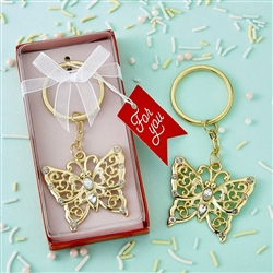 Gold Butterfly Keychain with Rhinestones Favor