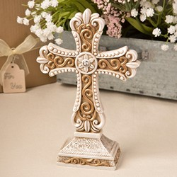 Beautiful Antique Ivory Cross statue with Matte gold detailing