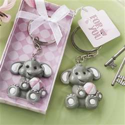 Adorable baby elephant with pink design key chain