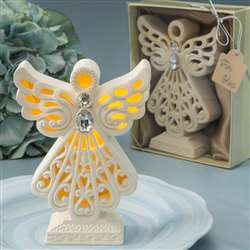 Glowing ivory color standing angel statue with LED light
