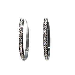 Austrian Crystal Hoop  Earrings - Black- Medium