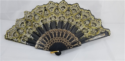 Gold and Black Floral Hand Fan