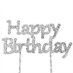 Rhinestone Covered Birthday Cake Topper