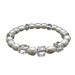 PEARL AND CLEAR CRYSTALS BRACELET