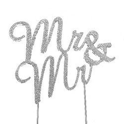 "Silver Tone Rhinestone Covered ""Mr. & Mr."" Cake Topper"