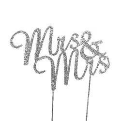 "Silver Tone Rhinestone Covered ""Mrs. & Mrs."" Cake Topper"