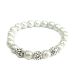 WHITE SHELL PEARLS WITH CLEAR SHAMBALA BRACELET
