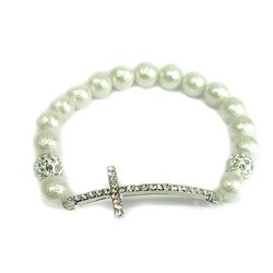 WHITE SHELL PEARLS WITH CROSS BRACELET
