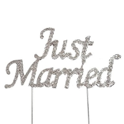 "Rhinestone Covered ""Just Married"" Cake Topper"