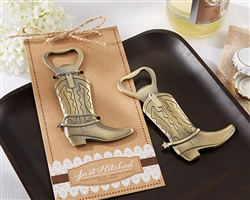 """Just Hitched"" Cowboy Boot Bottle Opener"
