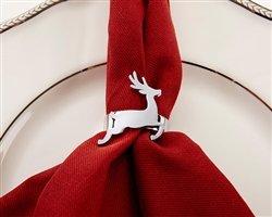 Silver Reindeer Napkin Ring (Set of 4)