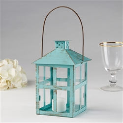 Vintage Blue Distressed Lantern - Large