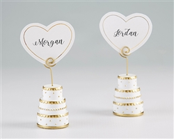 Gold Wedding Cake Place Card Holder (Set of 6)