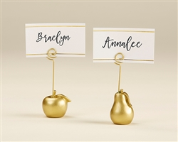 Gold Apple and Pear Place Card Holder (Set of 6)