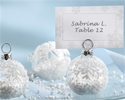 """Snow Flurry"" Flocked Glass Ornament Place Card/Photo Holder (Set of 6)"