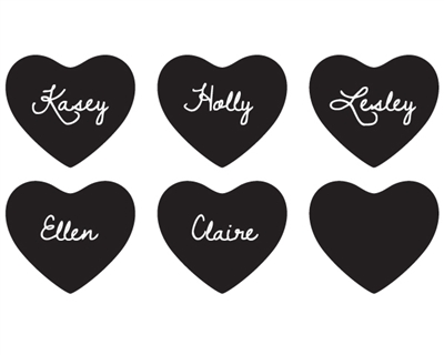 Heart Shaped Chalkboard stickers(SET OF 12)