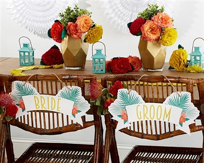 Tropical Chic Wedding Bride & Groom Chair SIgns