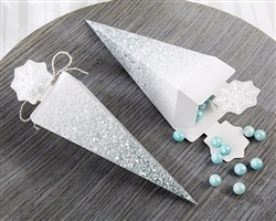Silver Glitter Snowflake Cone Favor Box (Set of 12)