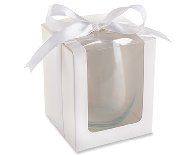 White 9oz Stemless Wine Glass Gift Box (Set of 12)
