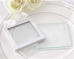White Glass Coaster Gift Sleeve (Set of 12)