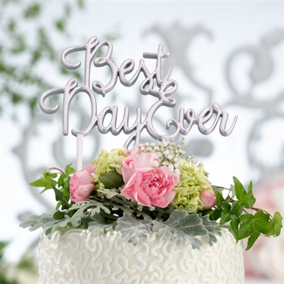 Best Day Ever Silver Cake Topper