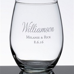 Personalized Script Single Stemless Wine Glass