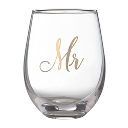 Gold Mr Stemless Wine Glass