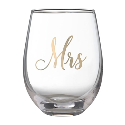 Gold Mrs Stemless Wine Glass