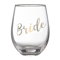 "Gold ""Bride"" Stemless Wine Glass"