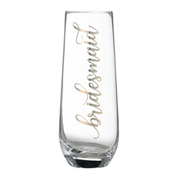 "Gold ""Bridesmaid"" Stemless Champagne Glass"