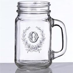 Personalized Leaf Monogram Single Mason Jar Mug