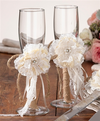 Burlap Glass Set