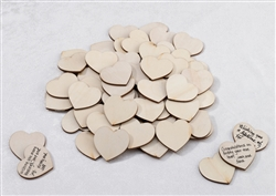 Wooden Signing Hearts - Set of 48