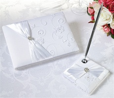 White Lace Guest Book with Pen Set
