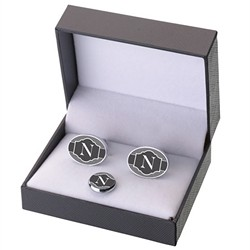 Cufflinks/Tie Tack Black Band Monogram A-Z