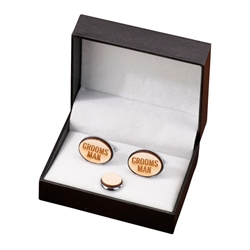 Groomsman Wood Cufflinks & Tie Tack Set
