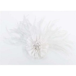 Marabou Feather Hair Clip-White