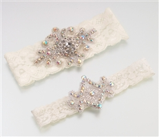 Set of 2 Jeweled Ivory Garters