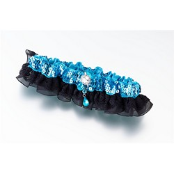 Aqua Sequin & Satin Garter