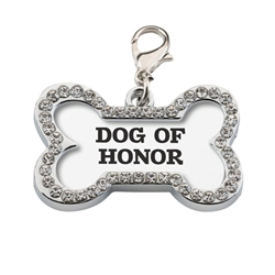 "Wedding Dog Collar Charm ""Dog of Honor """