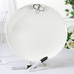 Round Silver Heart Guest Signing Plate with 2 Pens