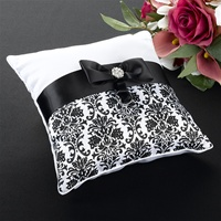 Black Damask Ring Pillow