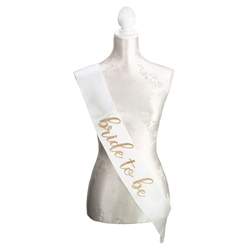 Ivory & Gold Satin Bride Sash