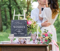 """Leave Your Wishes"" Canvas Wedding Sign"