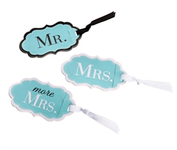 Aqua Mr., Mrs. and More Mrs. Luggage Tags Set of 3