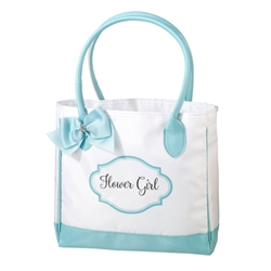 Aqua and White Flower Girl Tote Bag