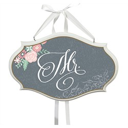 """Mr."" Chair Sign (Chalk Style Flower)"
