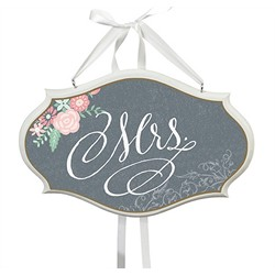 """Mrs."" Chair Sign (Chalk Style Flower)"