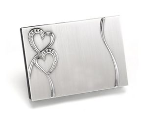 Double Heart Crystal Guest Book