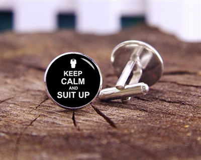 """Keep Calm and Suit Up"" Cufflinks"